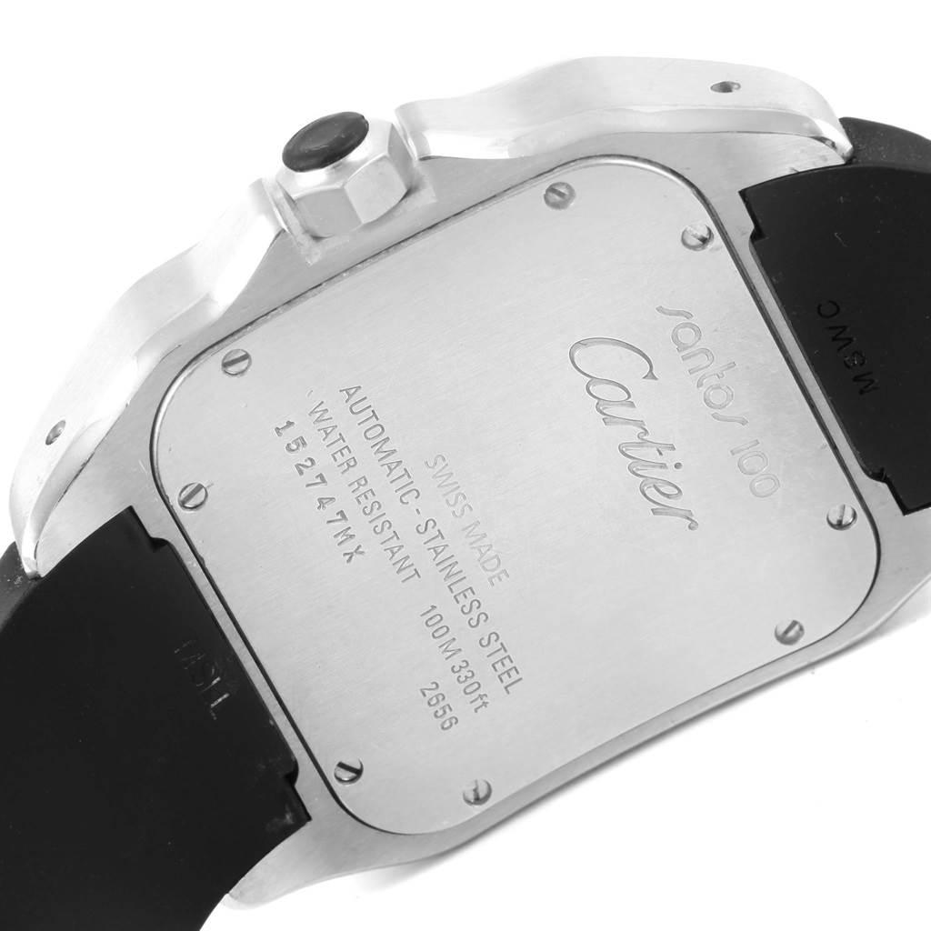 Cartier Santos 100 Stainless Steel Black Rubber Watch W20121U2 SwissWatchExpo