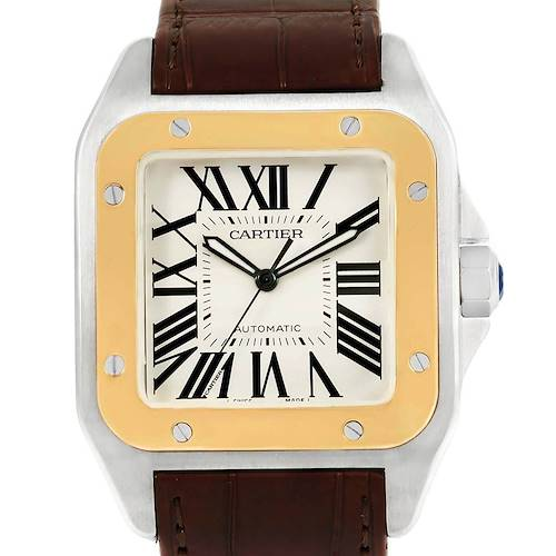 Photo of Cartier Santos 100 Steel Yellow Gold Mens Watch W20072X7 Box Papers