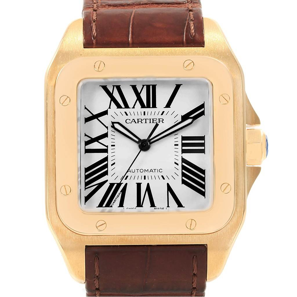... 18831 Cartier Santos 100 XL 18K Yellow Gold Brown Strap Mens Watch  W20071Y1 SwissWatchExpo ... eb44d150f9a8