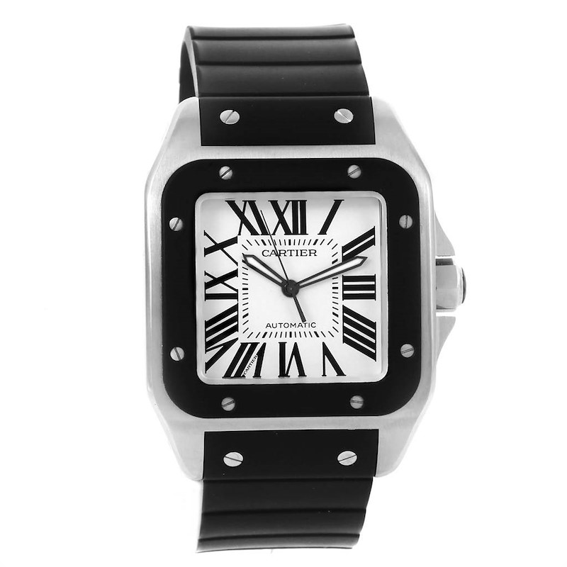 Cartier Santos 100 Stainless Steel Black Rubber Watch W20121U2 SwissWatchExpo