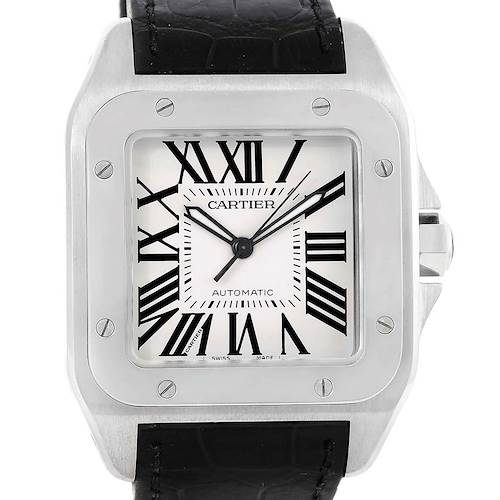 Photo of Cartier Santos 100 Steel Black Strap Mens Watch W20073X8 Box Papers