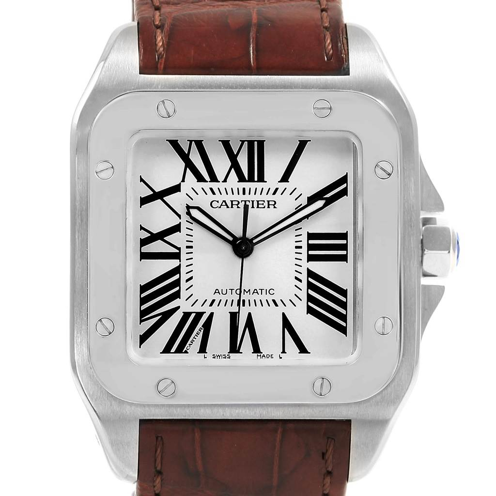 Cartier Santos 100 Silver Dial Steel Mens Watch W20073X8 Box Papers SwissWatchExpo