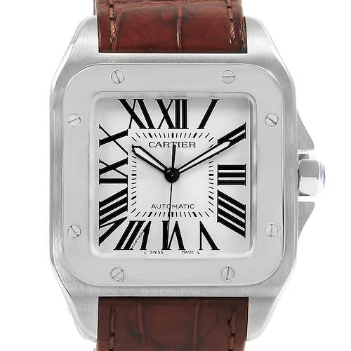 Photo of Cartier Santos 100 Silver Dial Steel Mens Watch W20073X8 Box Papers