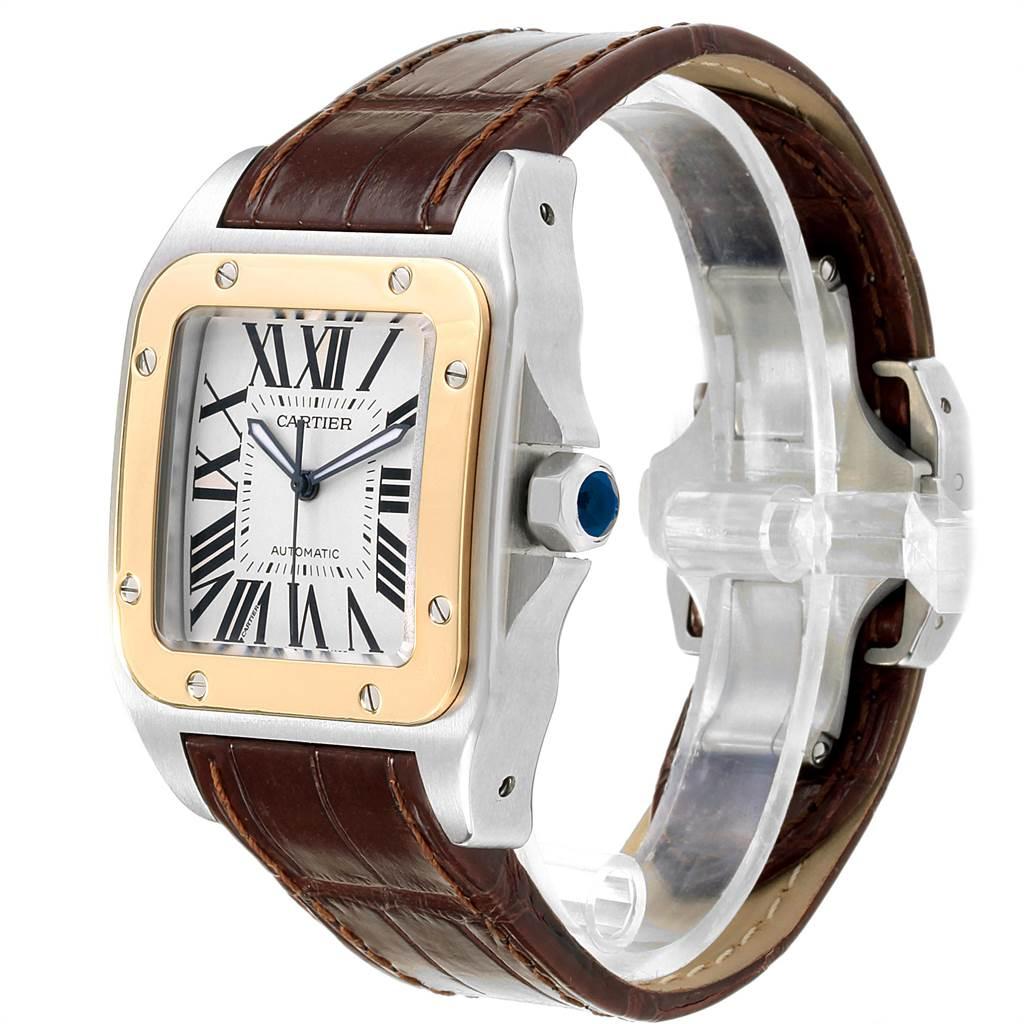 19554 Cartier Santos 100 Steel Yellow Gold Mens Watch W20072X7 Box Papers SwissWatchExpo