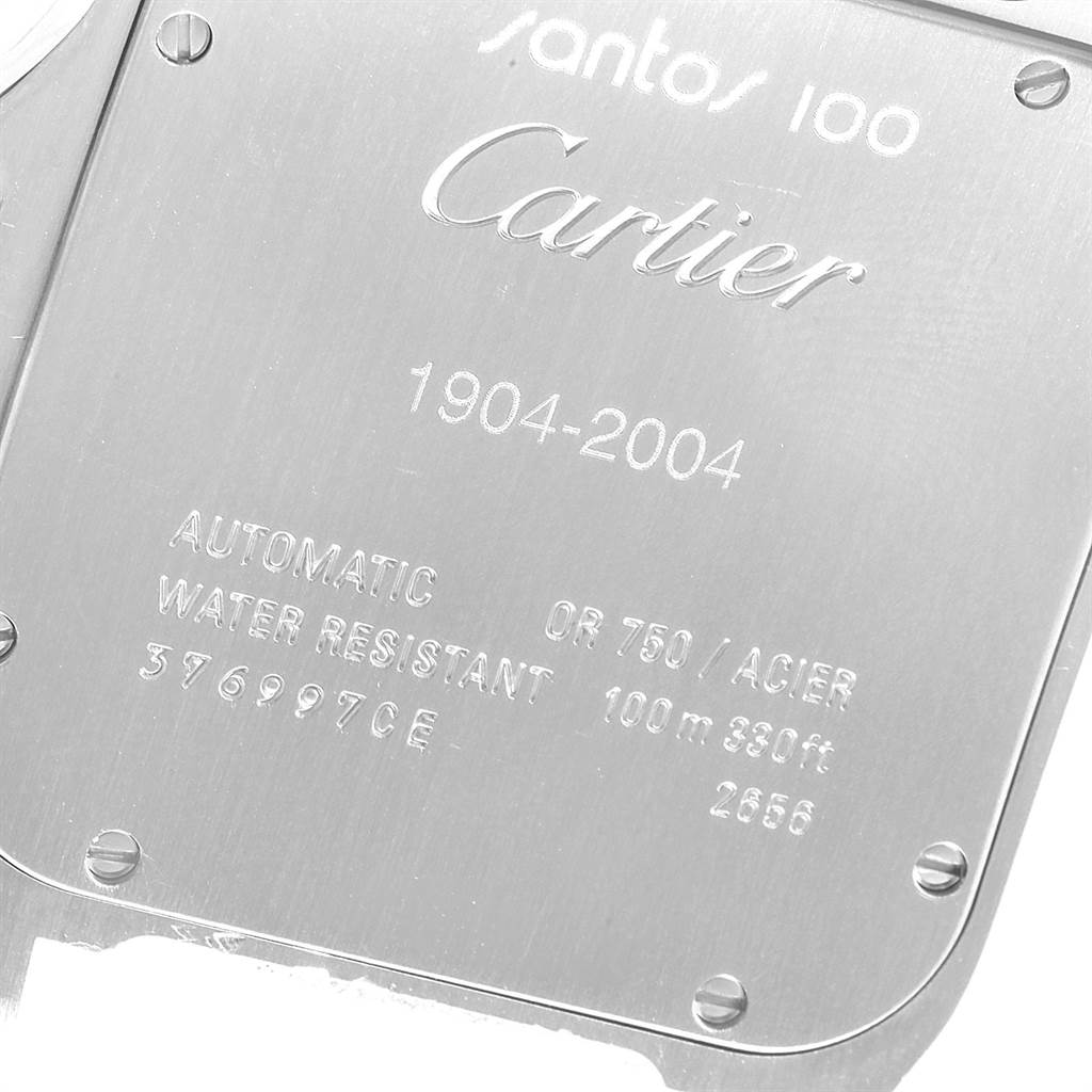 Cartier Santos 100 Steel Yellow Gold Mens Watch W20072X7 Box Papers SwissWatchExpo