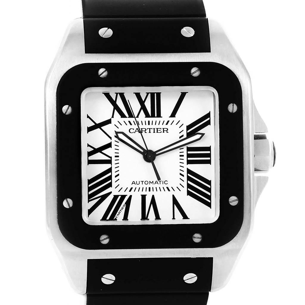 20053 Cartier Santos 100 Stainless Steel Black Rubber Watch W20121U2 SwissWatchExpo