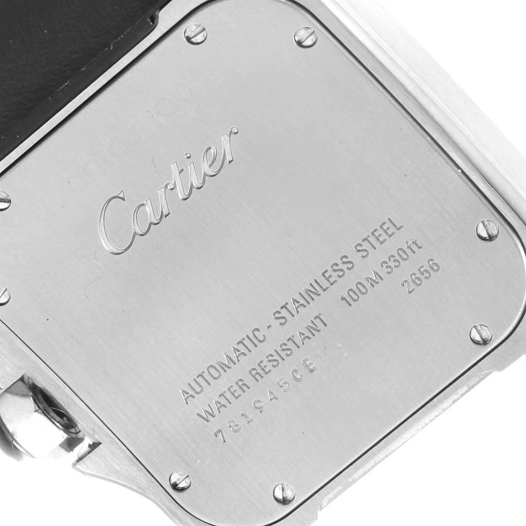19960 Cartier Santos 100 Silver Dial Steel Black Strap Mens Watch W20073X8 SwissWatchExpo