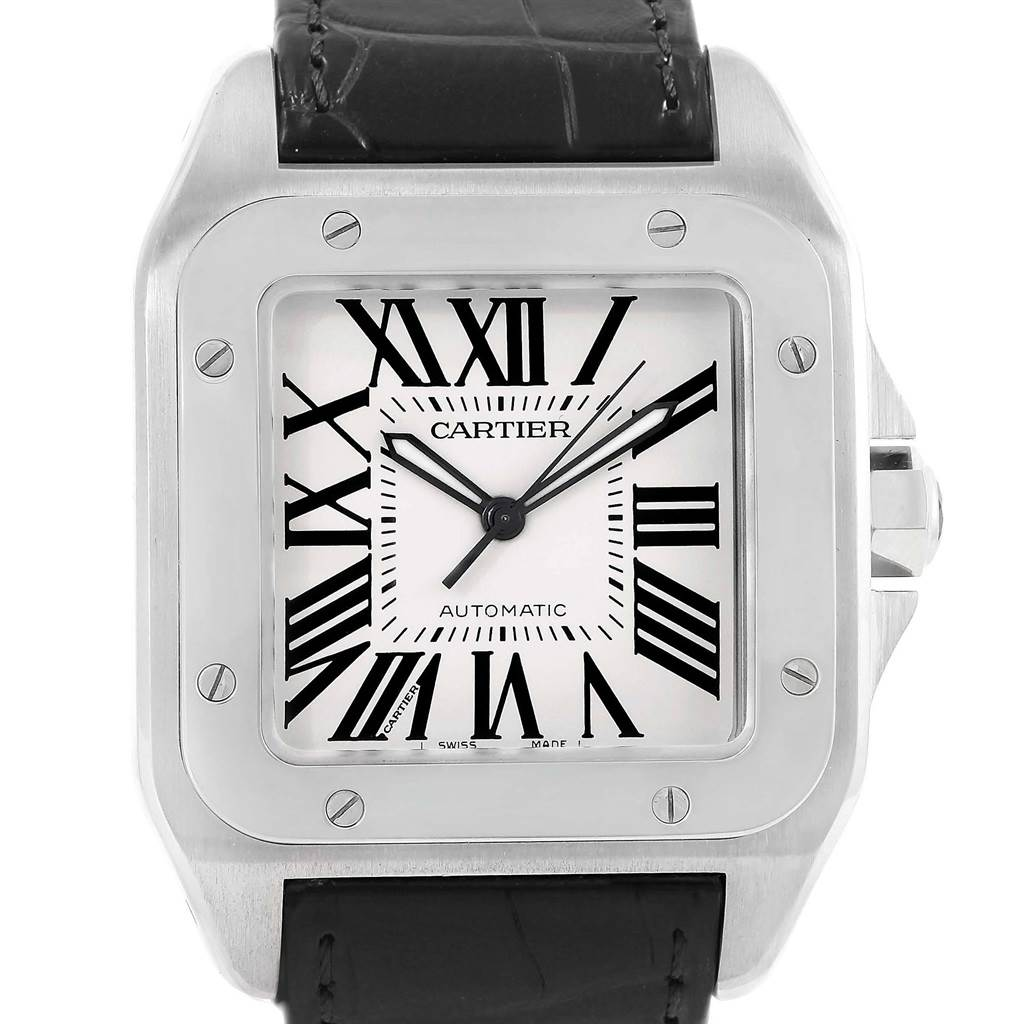 Cartier Santos 100 Silver Dial Steel Black Strap Mens Watch W20073X8
