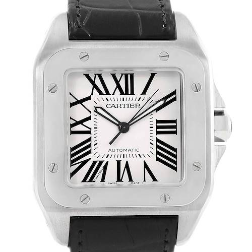 Photo of Cartier Santos 100 Silver Dial Steel Black Strap Mens Watch W20073X8