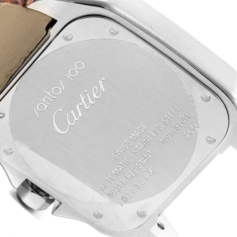 Cartier Santos 100 Silver Dial Brown Strap Steel Mens Watch W20073X8 SwissWatchExpo