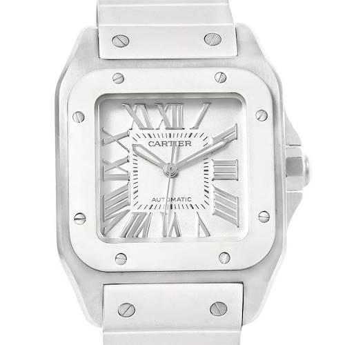 Photo of Cartier Santos 100 Steel White Rubber Ladies Watch W20129U2 Box Papers