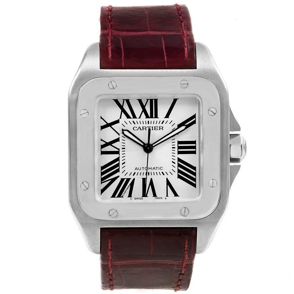 44a8a9c256a ... 20348 Cartier Santos 100 Burgundy Strap Steel Mens Watch W20073X8  SwissWatchExpo ...