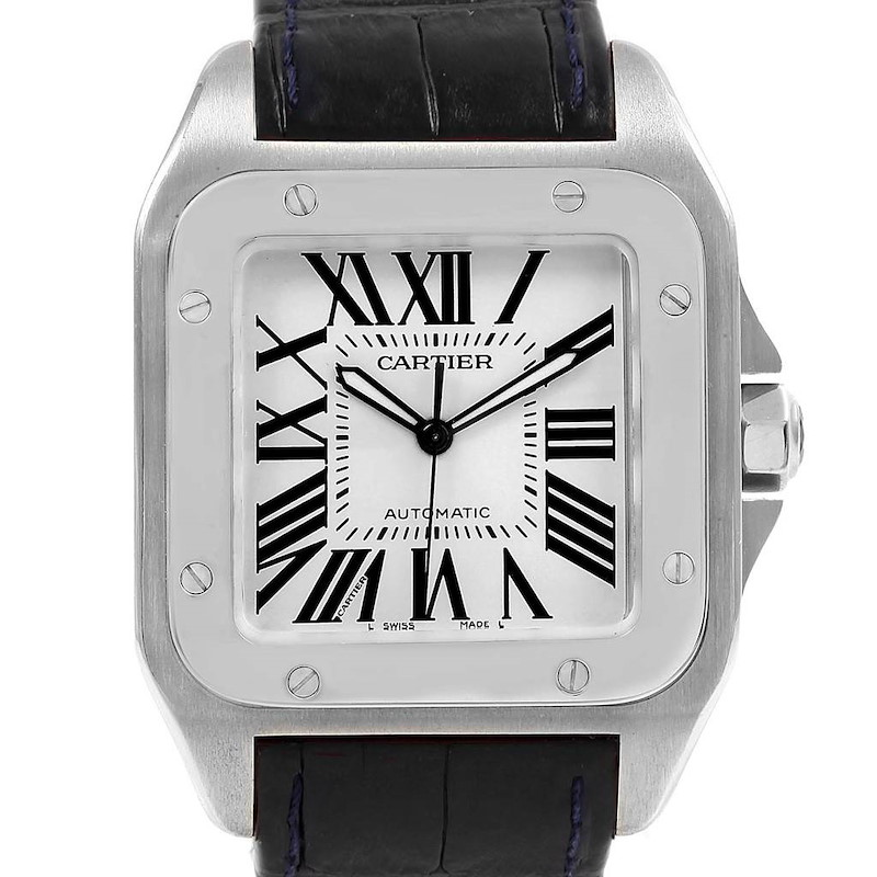 Cartier Santos 100 Silver Dial Black Strap Steel Mens Watch W20073X8 SwissWatchExpo