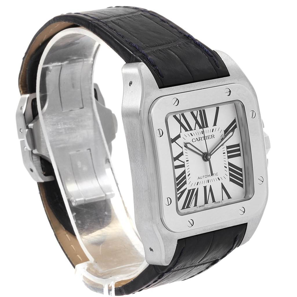 20636 Cartier Santos 100 Silver Dial Black Strap Steel Mens Watch W20073X8 SwissWatchExpo