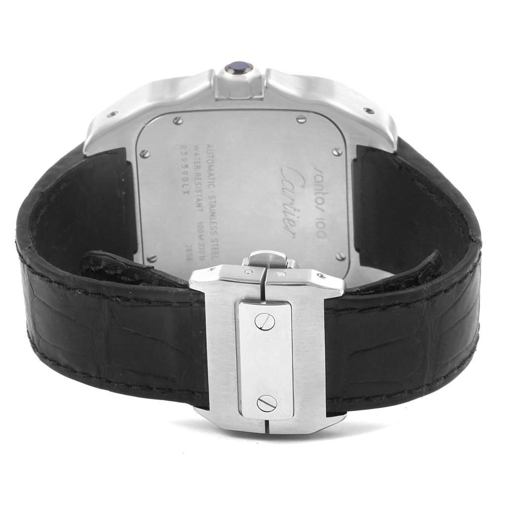 20644 Cartier Santos 100 Silver Dial Black Strap Steel Mens Watch W20073X8 SwissWatchExpo