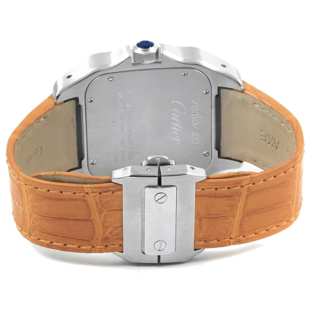 20643 Cartier Santos 100 Silver Dial Orange Strap Steel Mens Watch W20073X8 SwissWatchExpo