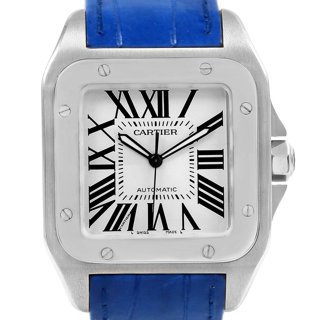 20857 Cartier Santos 100 Silver Dial Blue Strap Steel Mens Watch W20073X8 SwissWatchExpo