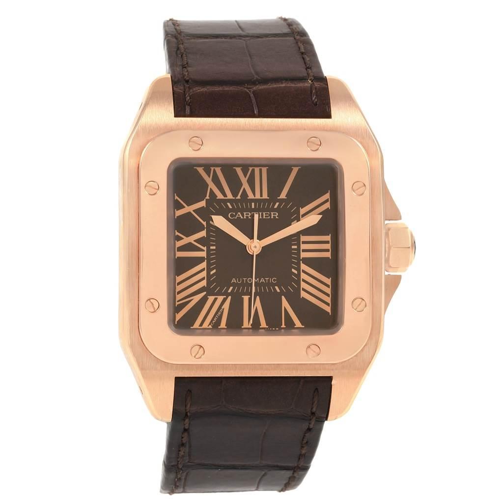 21070 Cartier Santos 100 Steel Rose Gold Brown Dial Mens Watch W20127Y1 SwissWatchExpo