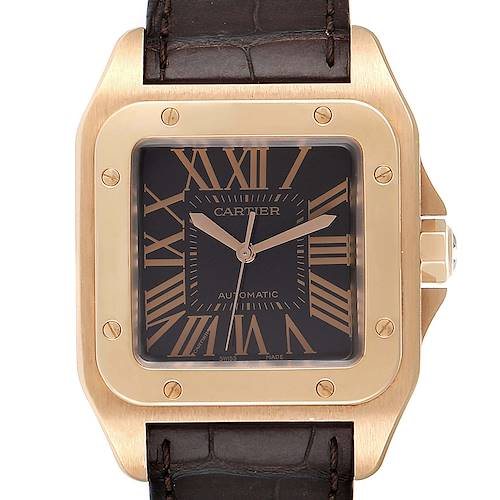 Photo of Cartier Santos 100 XL Rose Gold Brown Dial Mens Watch W20127Y1