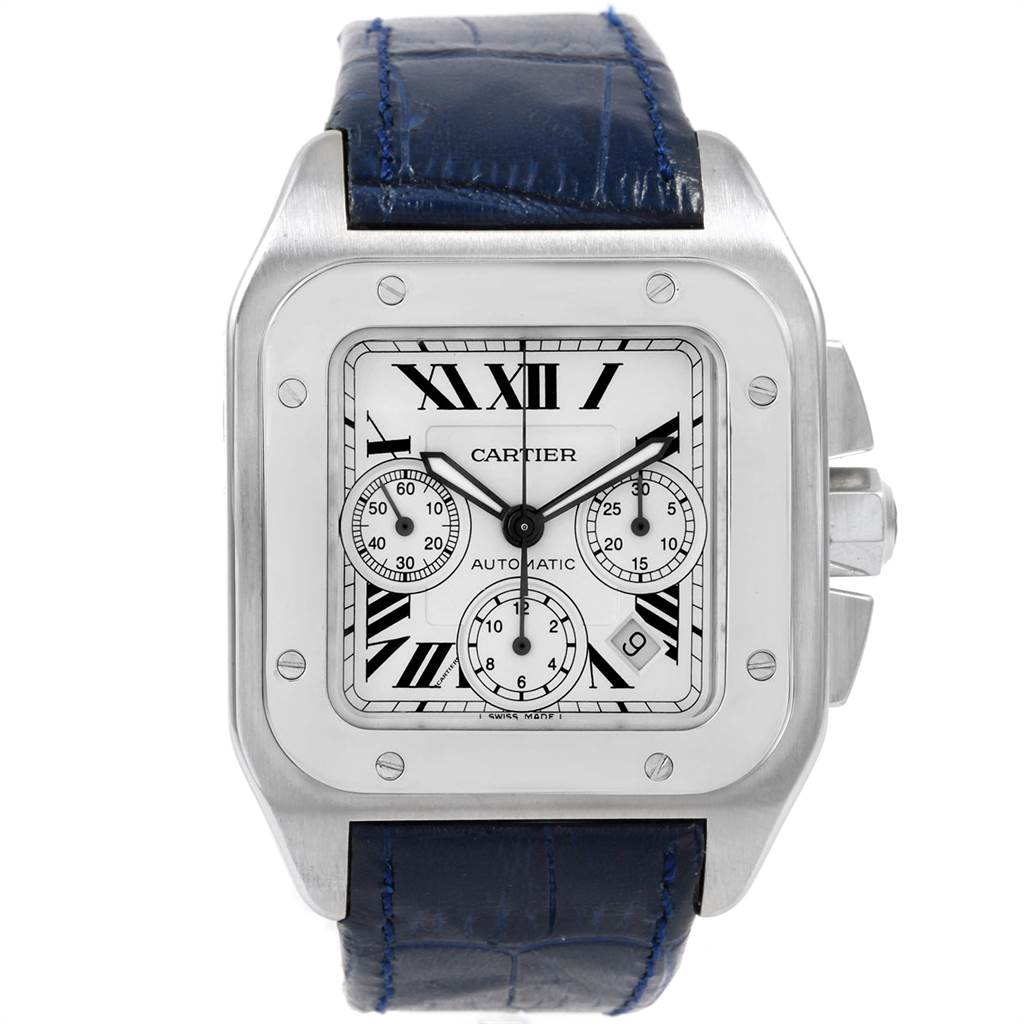 21613 Cartier Santos 100 X-Large Silver Dial Chronograph Watch W20090X8 SwissWatchExpo