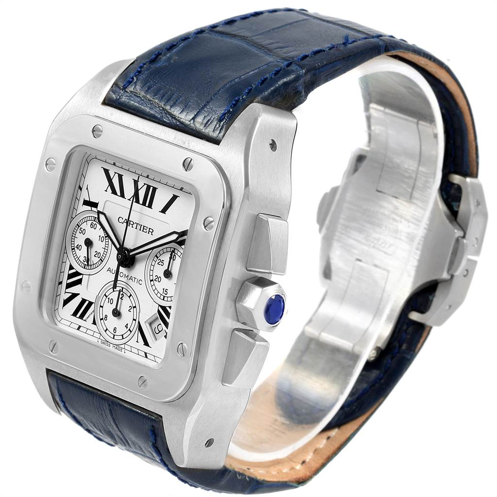 21613 Cartier Santos 100 X-Large Silver Dial Chronograph Watch W20090X8 SwissWatchExpo