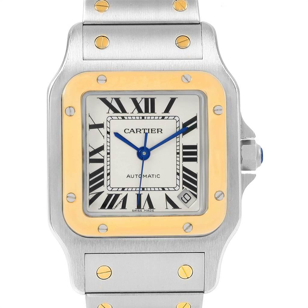 21717 Cartier Santos Galbee XL Steel Yellow Gold Watch W20099C4 Box Papers SwissWatchExpo