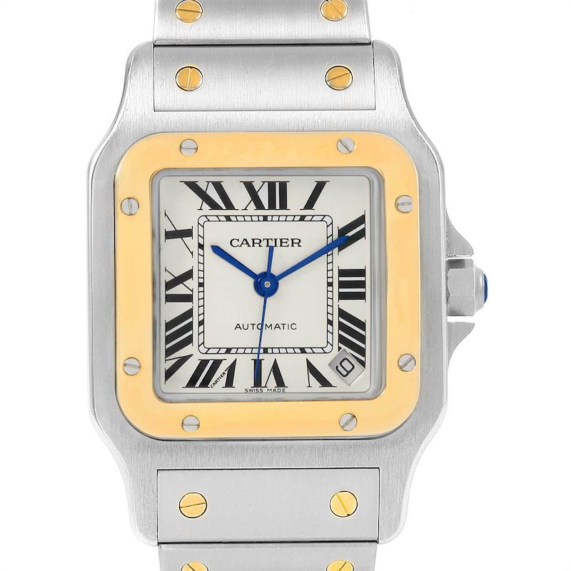 Cartier Santos Galbee XL Steel Yellow Gold Watch W20099C4 Box Papers SwissWatchExpo