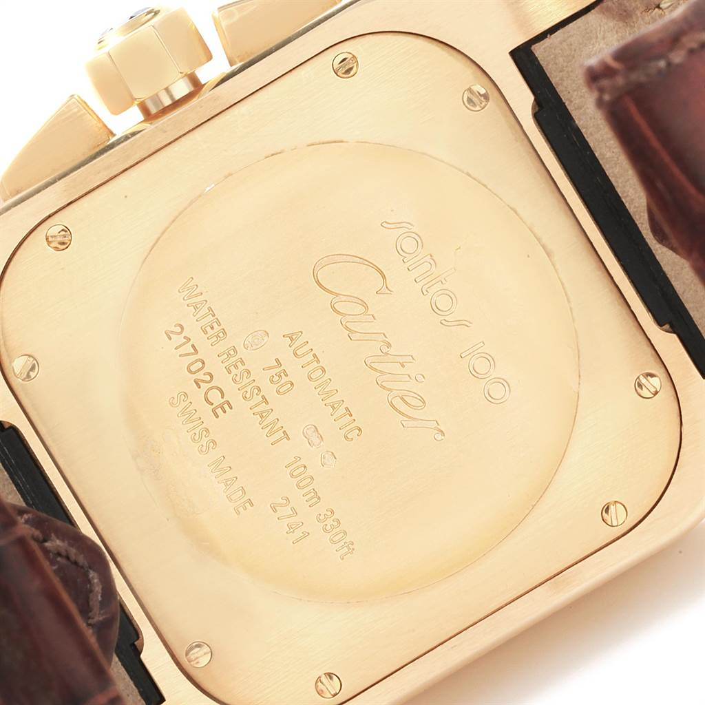 21986 Cartier Santos 100 Yellow Gold Chronograph Watch W20096Y1 Box Papers SwissWatchExpo
