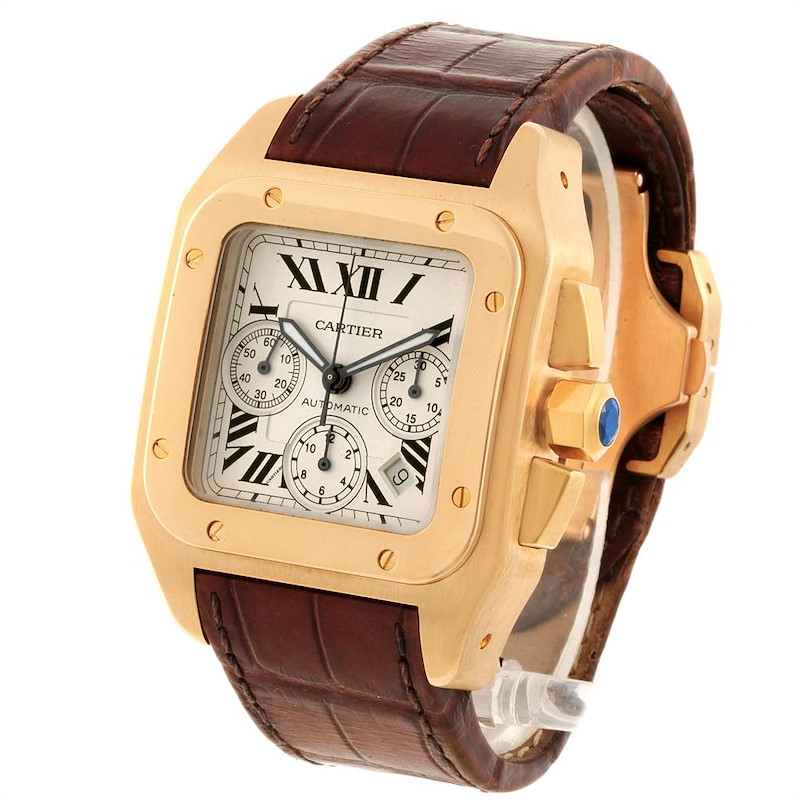 Cartier Santos 100 Yellow Gold Chronograph Watch W20096Y1 Box Papers SwissWatchExpo
