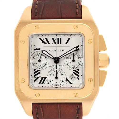 Photo of Cartier Santos 100 Yellow Gold Chronograph Watch W20096Y1 Box Papers