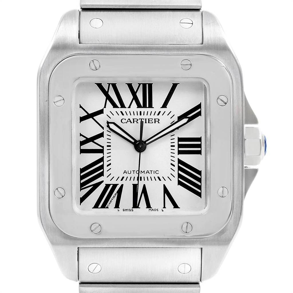 22413 Cartier Santos 100 Automatic Large Steel Mens Watch W200737G SwissWatchExpo