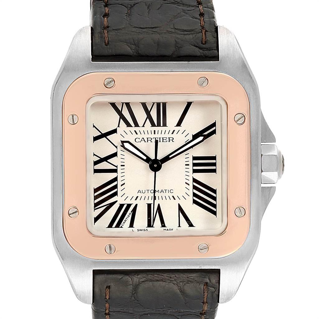 22412 Cartier Santos 100 Steel Rose Gold Midsize Mens Watch W20107X7 SwissWatchExpo