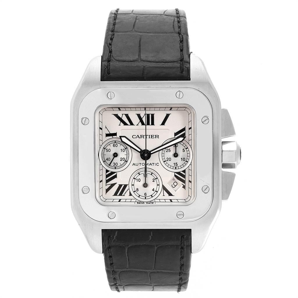 21800 Cartier Santos 100 XL Silver Dial Black Strap Chronograph Watch W20090X8 SwissWatchExpo