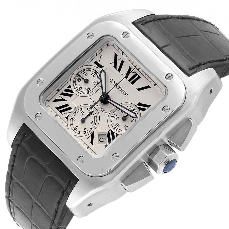 Cartier Santos 100 XL Silver Dial Black Strap Chronograph Watch W20090X8 SwissWatchExpo