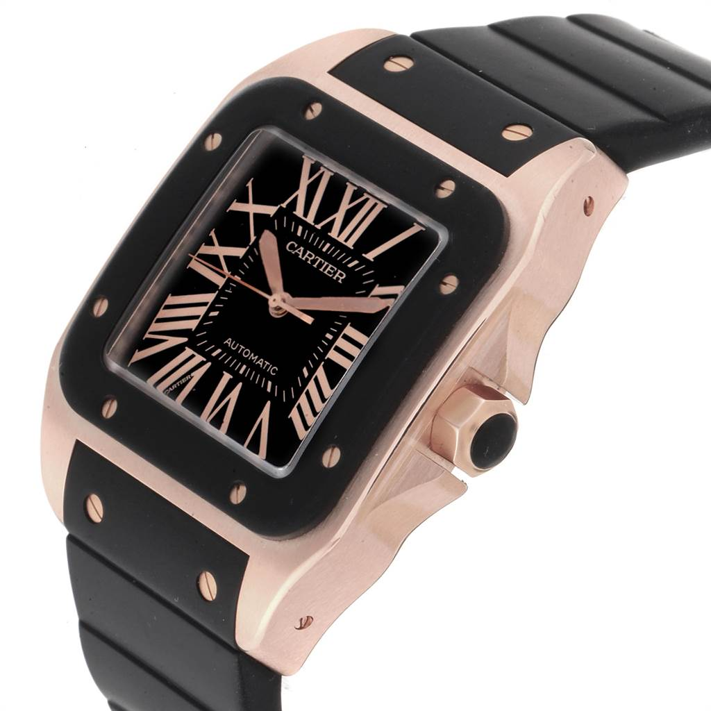 22624 Cartier Santos 100 Rose Gold Black Dial Mens Watch W20124U2 Box Papers SwissWatchExpo