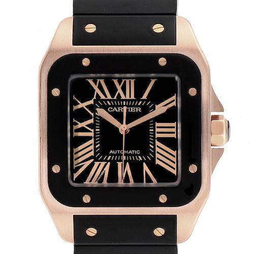 Photo of Cartier Santos 100 Rose Gold Black Dial Mens Watch W20124U2 Box Papers