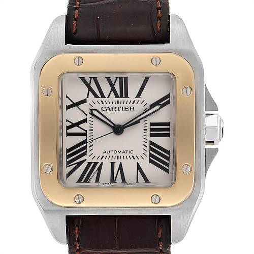 Photo of Cartier Santos 100 Steel Yellow Gold 38mm Mens Watch W20072X7 Box Papers
