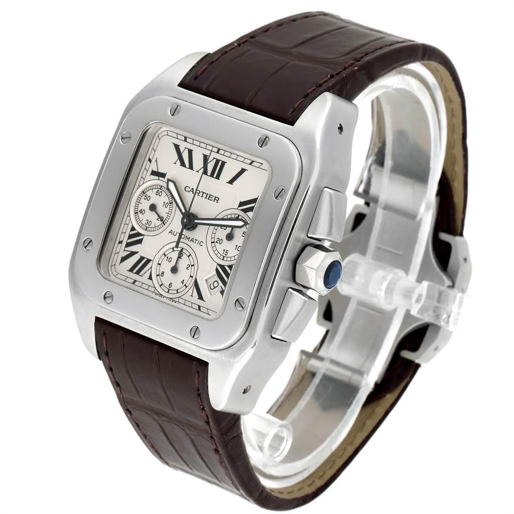 Cartier Santos 100 XL Silver Dial Brown Strap Chronograph Watch W20090X8 SwissWatchExpo