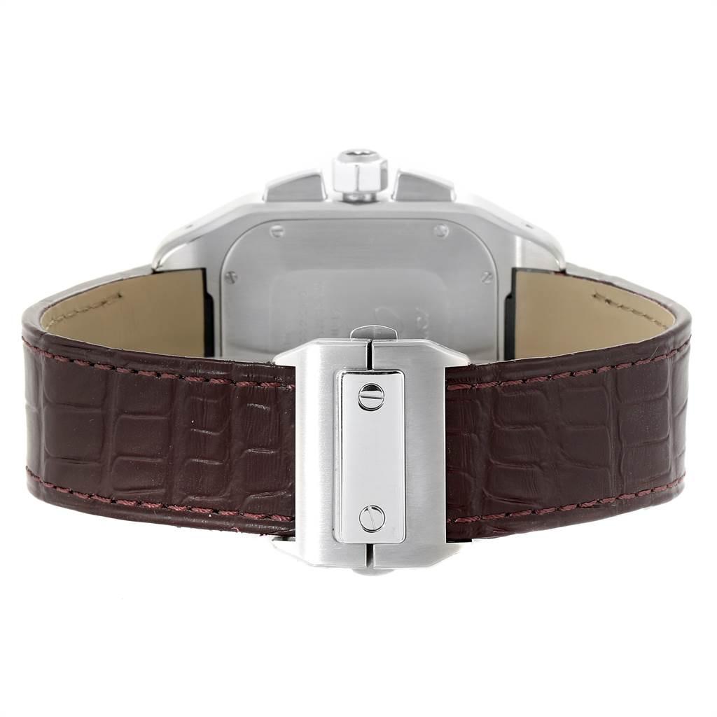 23402 Cartier Santos 100 XL Silver Dial Brown Strap Chronograph Watch W20090X8 SwissWatchExpo