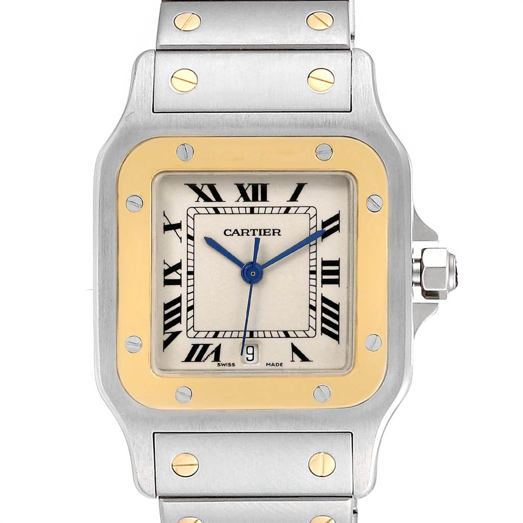 Cartier Santos Galbee Large Steel Yellow Gold Unisex Watch W20011C4 SwissWatchExpo