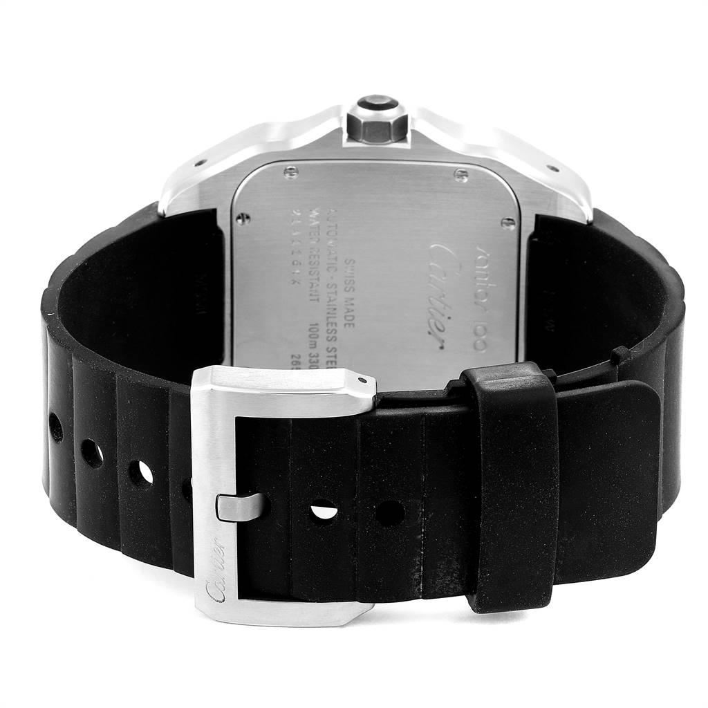 23587 Cartier Santos 100 Steel Black Rubber Mens Watch W20121U2 Box Papers SwissWatchExpo