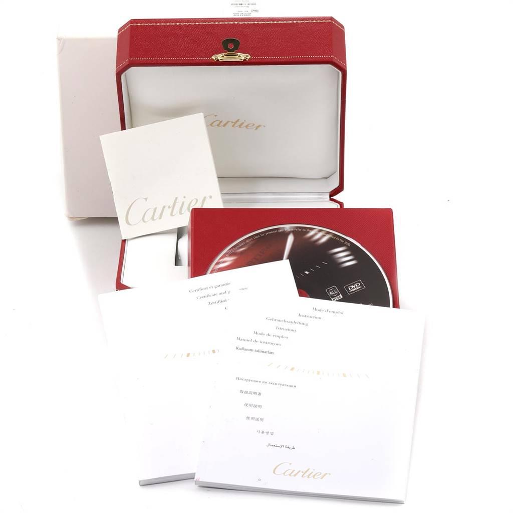 Cartier Santos 100 Steel Black Rubber Mens Watch W20121U2 Box Papers SwissWatchExpo