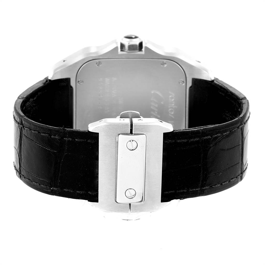 24136 Cartier Santos 100 Silver Dial Steel Black Strap Mens Watch W20073X8  SwissWatchExpo