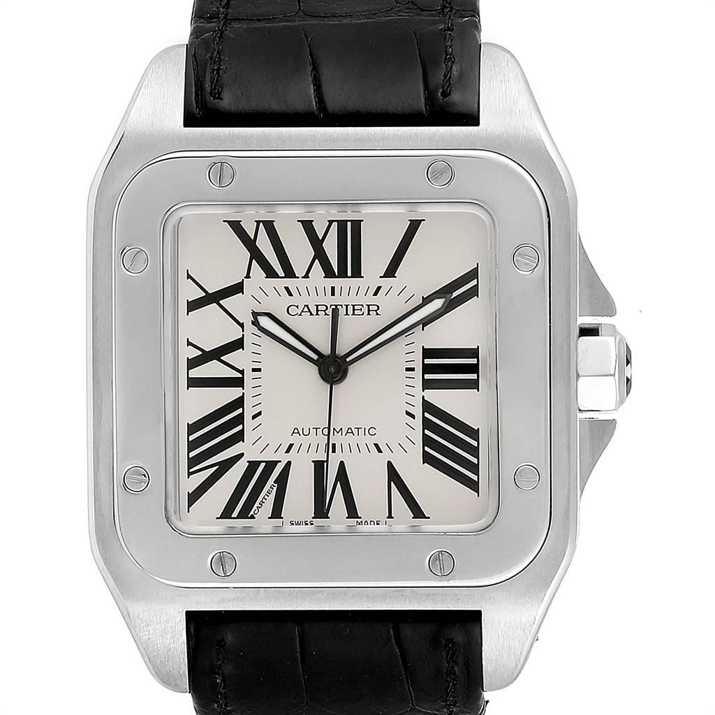 Cartier Santos 100 Silver Dial Steel Black Strap Mens Watch W20073X8 SwissWatchExpo