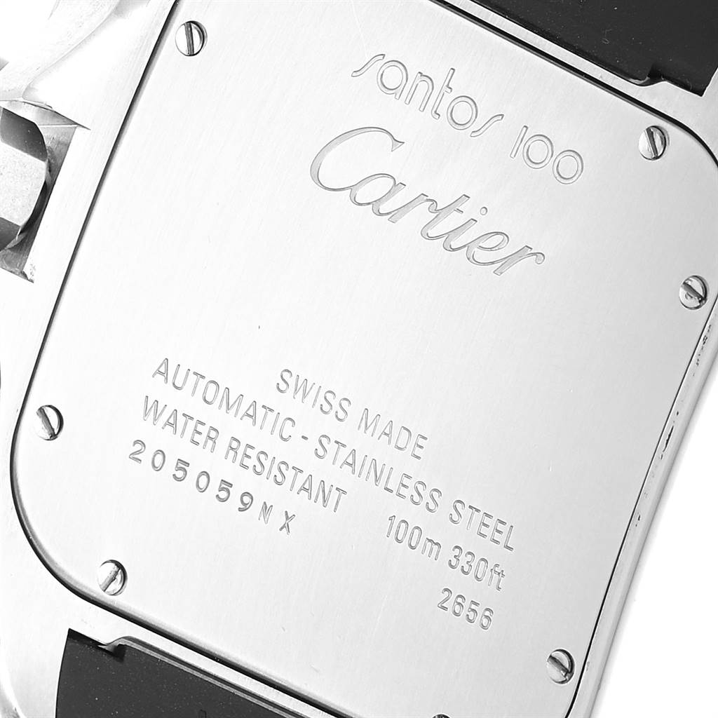 Cartier Santos 100 Steel Black Rubber Strap Mens Watch W20121U2 Box SwissWatchExpo
