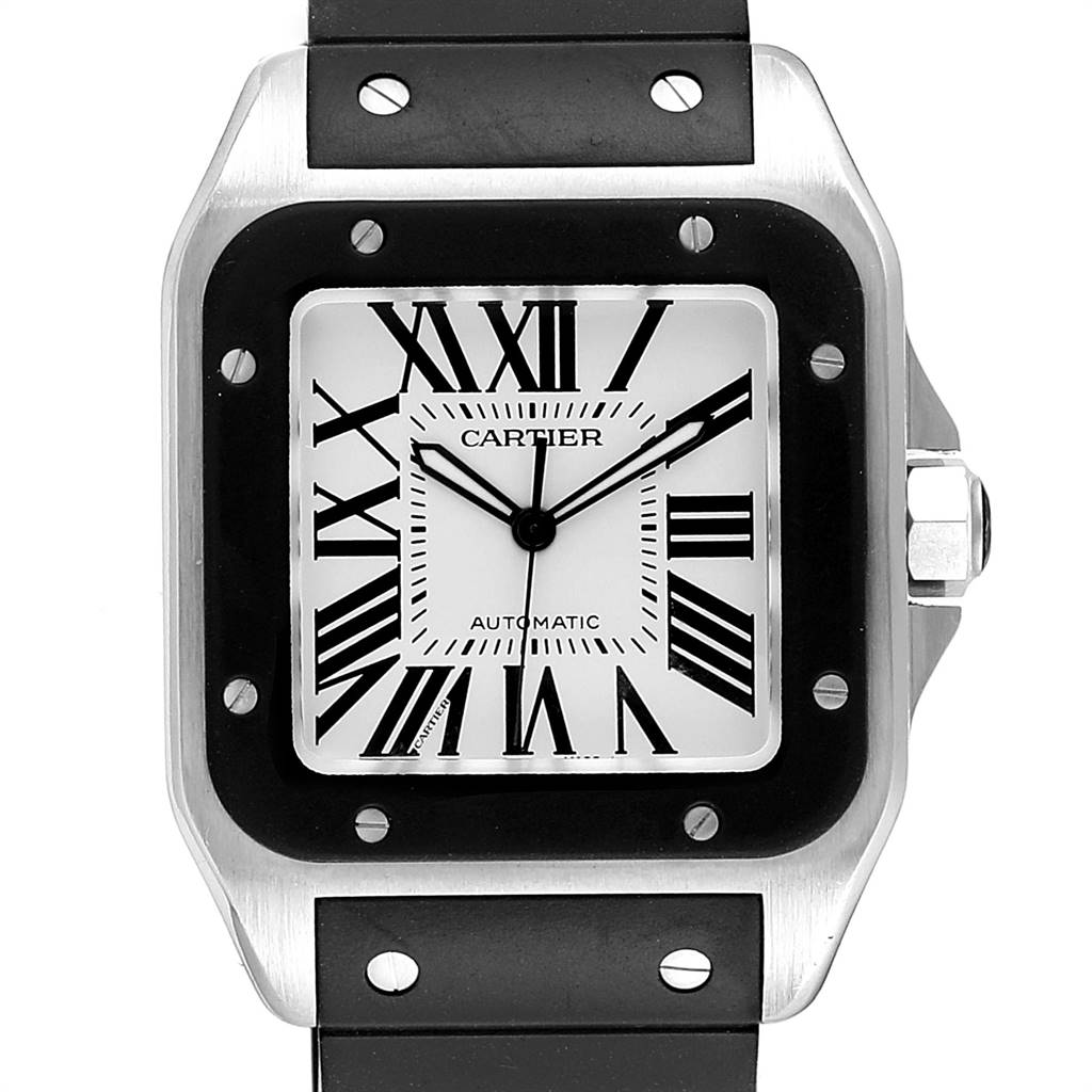 23519 Cartier Santos 100 Steel Black Rubber Strap Mens Watch W20121U2 Box SwissWatchExpo