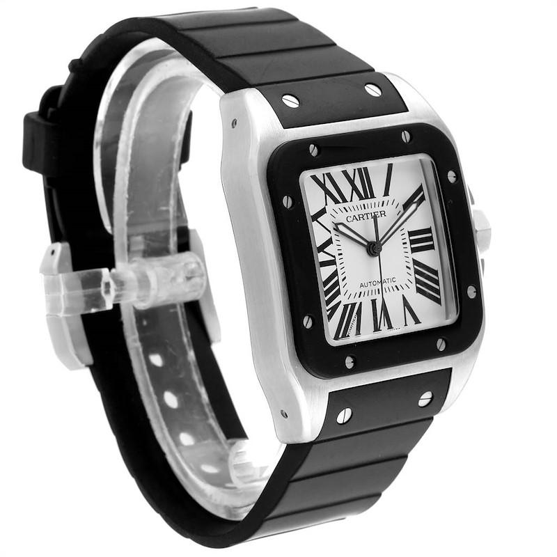 Cartier Santos 100 Steel Black Rubber Strap Mens Watch W20121U2 Box SwissWatchExpo