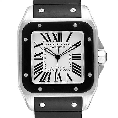 Photo of Cartier Santos 100 Steel Black Rubber Strap Mens Watch W20121U2 Box
