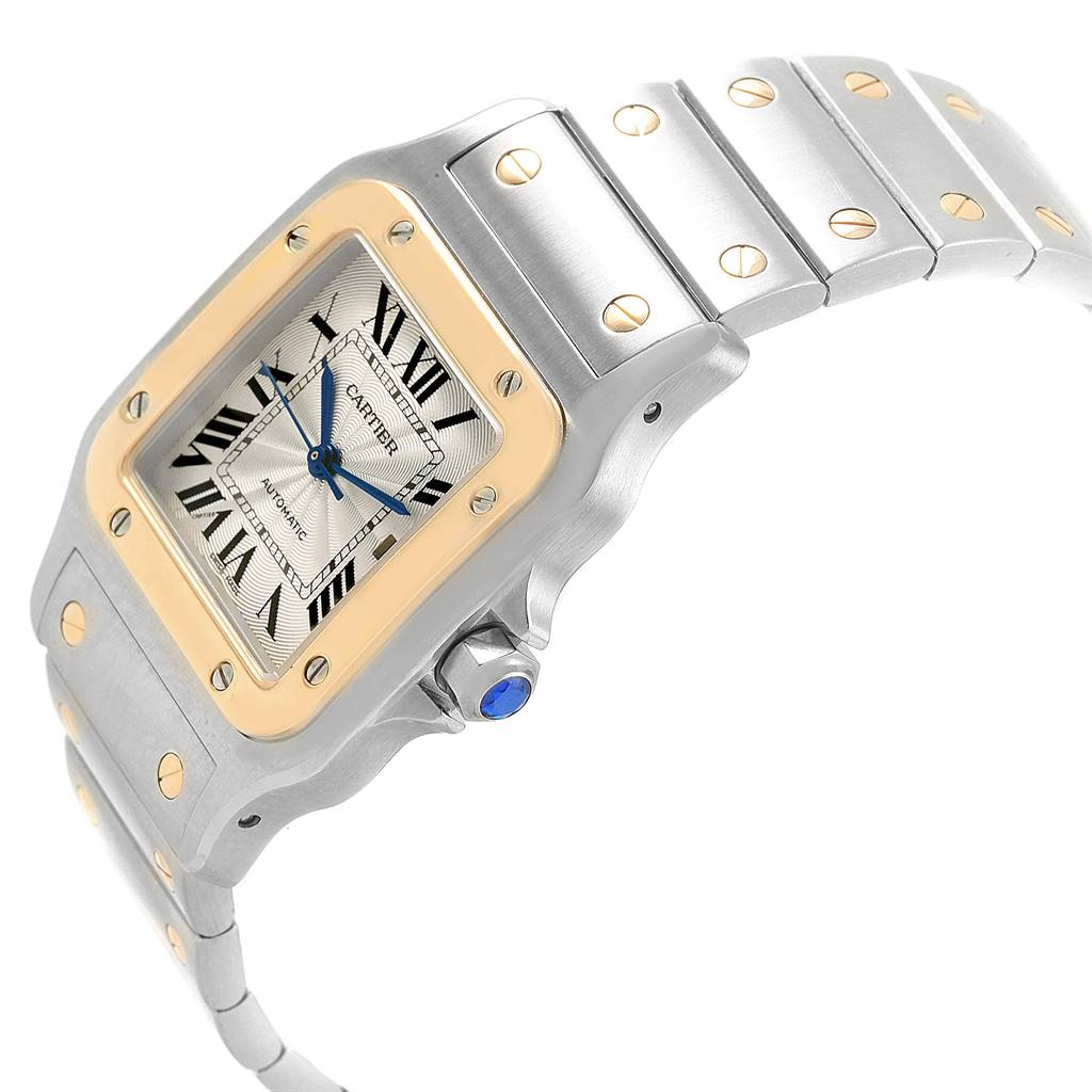 24798 Cartier Santos Galbee Steel Yellow Gold Mens Watch W20058C4 Box SwissWatchExpo