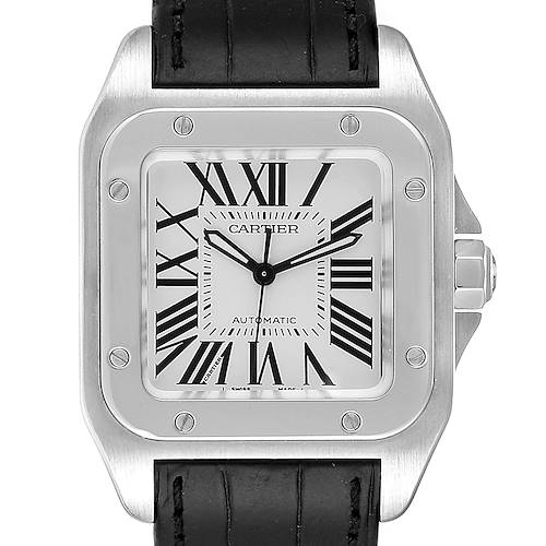 Photo of Cartier Santos 100 Steel Midsize Black Strap Mens Watch W20106X8